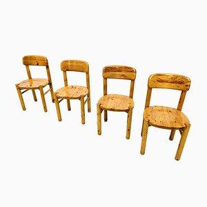 Dänische Vintage Stühle aus massivem Pinienholz von Rainer Daumiller für Hirtshals Savaerk, 4er Set