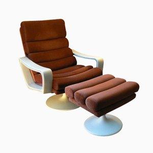 Vintage Tulip Fiberglas Lounge Stuhl und Fußhocker von Lusch