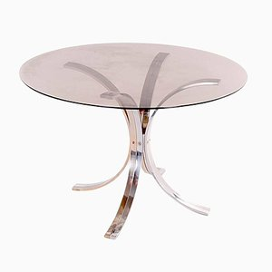 Chrome, Brass and Tinted Glass Dining Room Table by Romeo Rega, 1970s