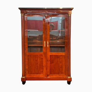 Empire Bookcase in Cherry Wood & Brass, 1810s