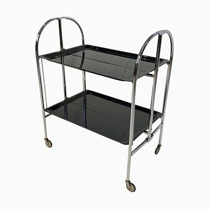 Art Deco Foldable Serving Trolley in Black Nickel, 1930s