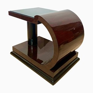 Art Deco Side Table in Rosewood Veneer, Ebony, and Black Glass, 1930s