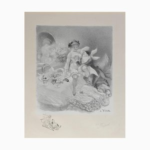 Adolphe Willette, Seven Deadly Sins Erotic Nude, 1917, Original Hand Signed Lithograph