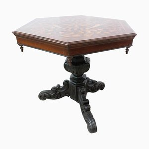 Moroccan Hexagonal Marquetry Side Table Ebonized Pedestal Table