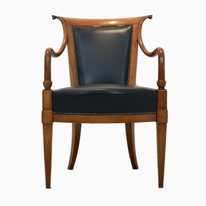 Italian Solid Beech and Leather Directoire Chair from Selva