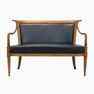 Italienisches Directoire Zwei-Sitzer Sofa aus Massivem Buchenholz und Leder von Selva
