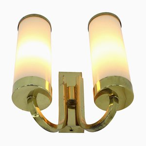 Art Deco Bauhaus Brass Wall Lamps, 1930s, Set of 3