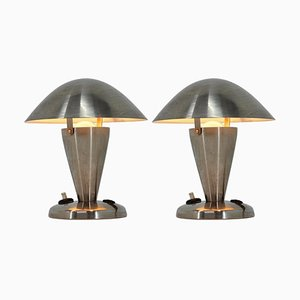 Small Bauhaus Metal Adjustable Table Lamps, 1940s, Set of 2