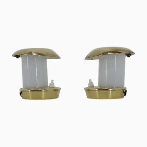 Bauhaus Brass Glass Table Lamps, 1930s, Set of 2
