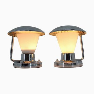 Bauhaus Chrome & Glass Table Lamps, 1930s, Set of 2