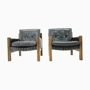 Set of 2 Two Dark Green Leather Armchairs from Ton / Czechoslovakia, 1970s