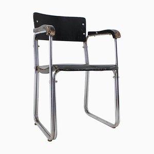 Sedia da scrivania Bauhaus in acciaio tubolare placcato in cromo, anni '30