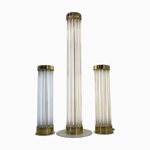 Glass & Brass Floor Lamps from Kamenicky Senov, 1960s, Set of 3