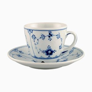 Blue Fluted Hotel Coffee Cup with Saucer from Bing & Grondahl, Set of 2