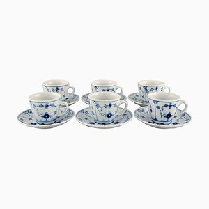 Blue Fluted Hotel Coffee Cups with Saucers from Bing & Grondahl, Set of 6