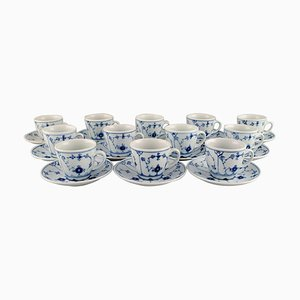 Blue Fluted Hotel Coffee Cups with Saucers from Bing & Grondahl, Set of 12