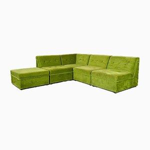 Divano vintage con ottomana vintage in velluto verde, set di 5