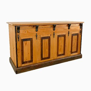 Bancone da negozio in legno di pino