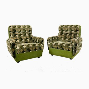 Vintage Velvet Lounge Chairs with Rhombus Print, Set of 2