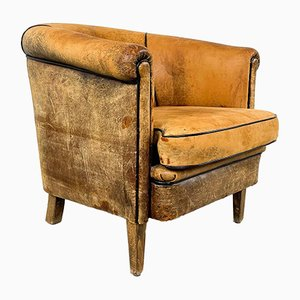 Vintage Worn Sheep Leather Chair
