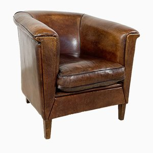 Vintage Dark Sheep Leather Club Chair with Art Deco Front