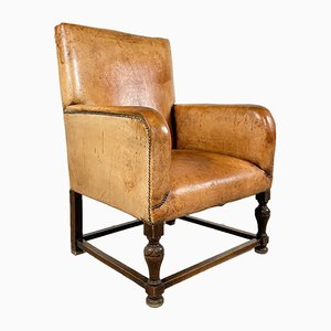 Antique Cognac Colored Sheep Leather Armchair with Square Wooden Frame