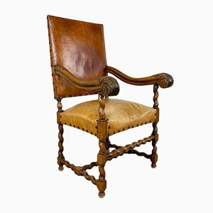 Antique Cognac Colored Sheep Leather Armchair with Barley Twist Base