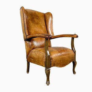 Antique Cognac Colored Sheep Leather Armchair with Worn Armrests