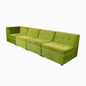 Divano vintage in velluto verde, set di 4