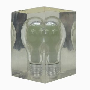 Pop Art Lucite Glow in the Dark Paperweight Sculpture by Pierre Giraudon, 1970s