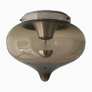 Mid-Century Rauchglas Deckenlampe von Dijkstra, 1970er