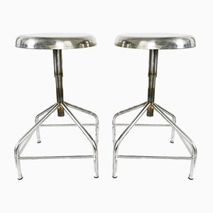 Vintage Polished Low Industrial Swivelling Stools, Set of 2