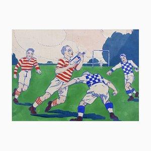 The Rugby Tackle, 1920er, Französische Werbeschild-Illustration
