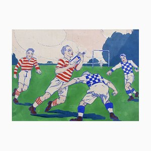 The Rugby Tackle, 1920s, French Advertising Prototype Illustration