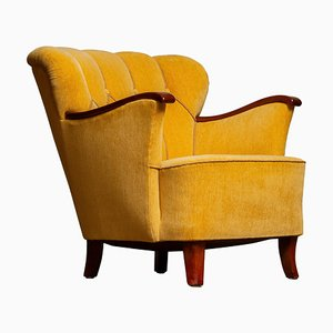 Yellow Velvet Lounge Chair with Mahogany Details, 1940s