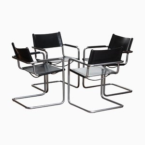 Mg5 Black Leather Dining or Office Chairs by Matteo Grassi, 1970s, Set of 4