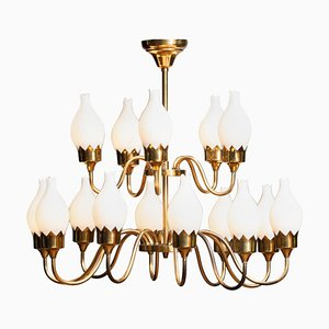 Brass and White Glass Opaline Arm Chandelier with Tulips from Fog & Mørup