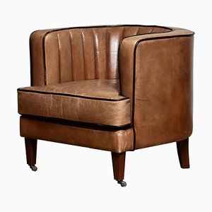 Brown Leather Art Deco Club Chair, 1950s