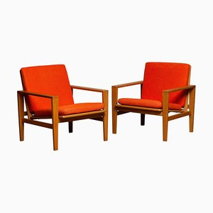 Lounge Chairs in Oak Leather Fabric by Erik Merthen for Ire Skillingaryd, Set of 2