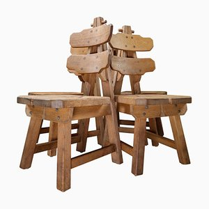 Skulpturale Stühle aus Eichenholz, 1960er, 4er Set