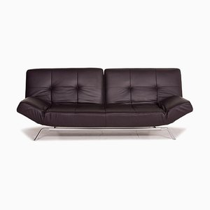 Smala Aubergine Leather Sofa Bed from Ligne Roset