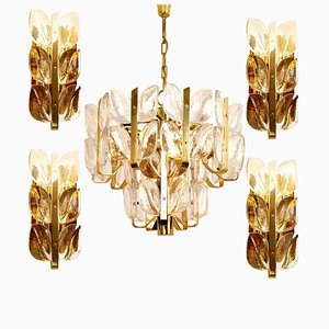 Florida Crystal Glass Light Fixtures from Kalmar, Set of 5