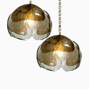 Chandeliers in Smoked Glass and Brass from Kalmar, 1970s, Set of 2