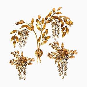 Applique da parete a forma di palma in metallo dorato di Hans Kögl, anni '60, set di 3