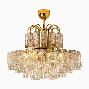 Five-Tiers Blown Glass and Brass Chandelier from Doria, 1960