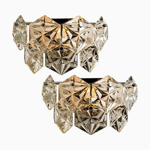 Faceted Crystal and Chrome Sconces from Kinkeldey, Germany, 1970s, Set of 2