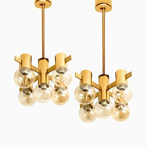 Brass and Glass Light Fixtures in the Style of Jacobsson, 1960s, Set of 2