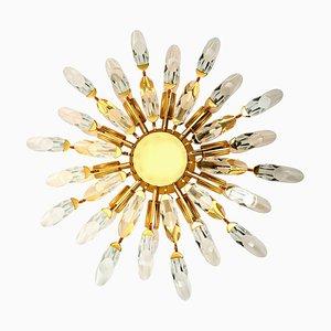Crystal and Gilded Brass Italian Flushmount / Sconce from Stilkronen