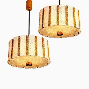 Gold-Plated Bronze Drum Light Fixtures, 1960s, Austria, Set of 2