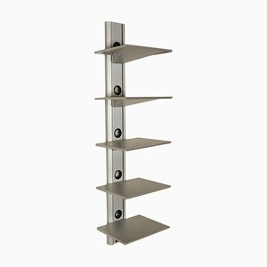 Opaque Chromed Metal Vintage Bookcase, Italy, 1990s